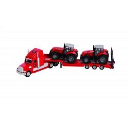 Tahač s podvaníkem a 2 traktory MF 8480 v měřítku 1:87 - od 3 let